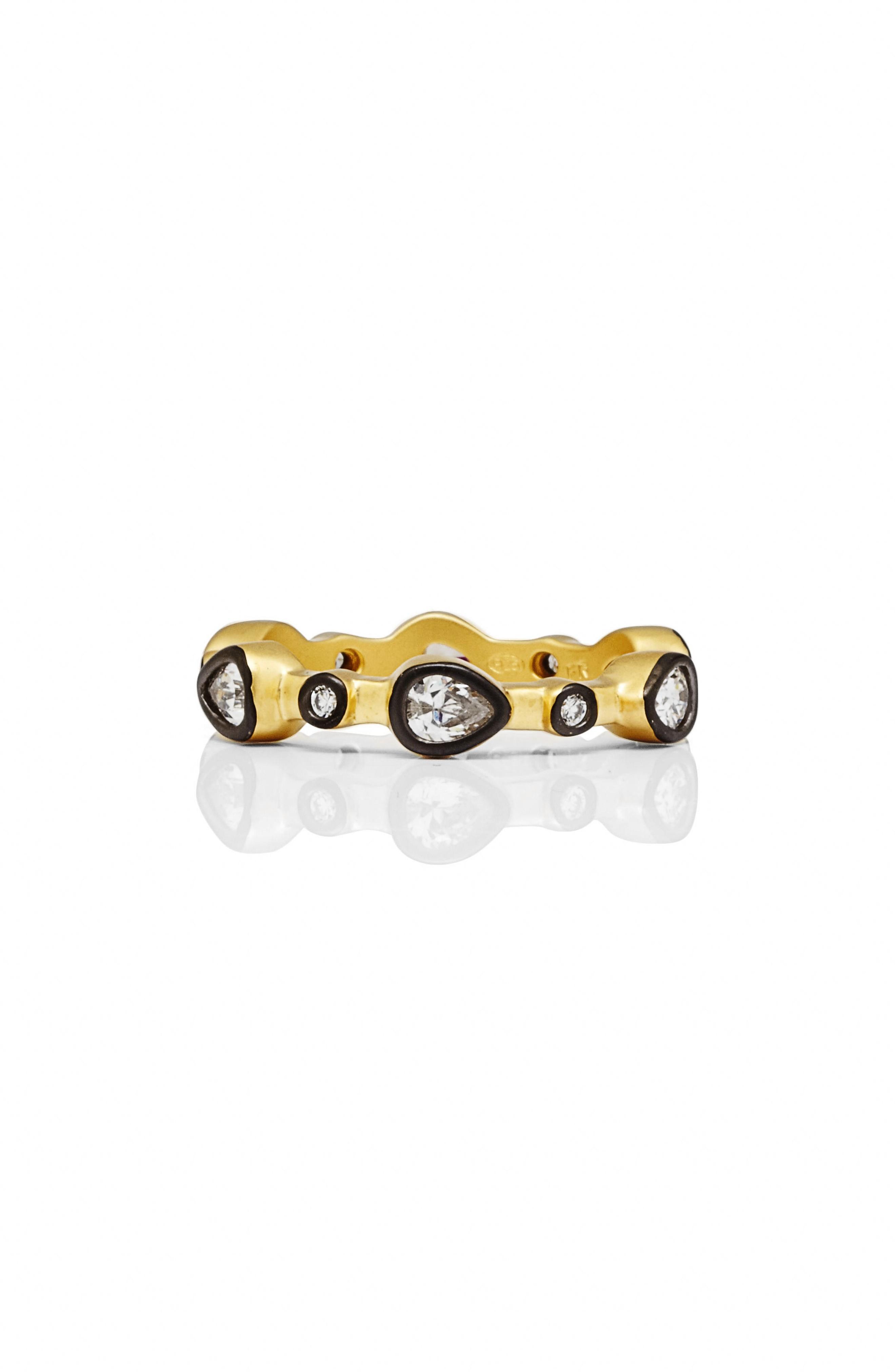 Freida Rothman Radiance Stacking Ring In Black/ Gold