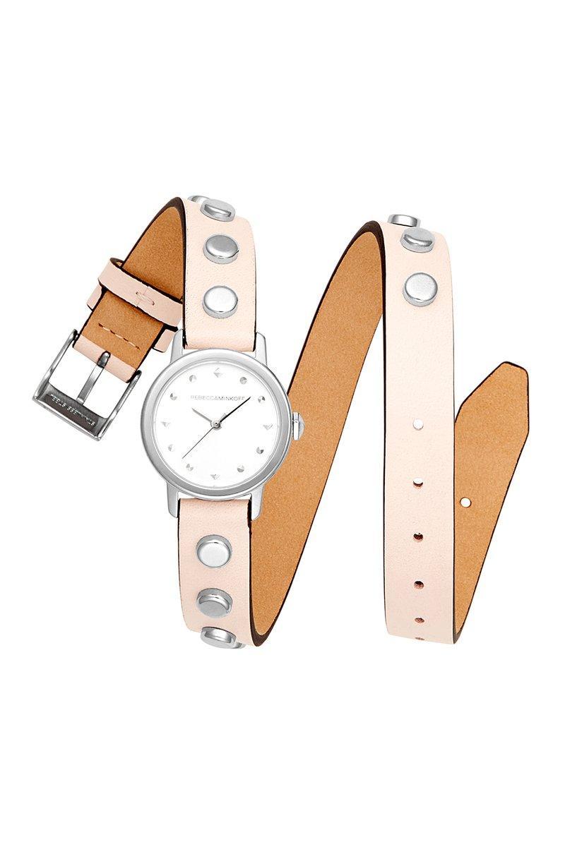 Rebecca Minkoff Bffl Silver Tone Studded Double Wrap Watch, 25mm