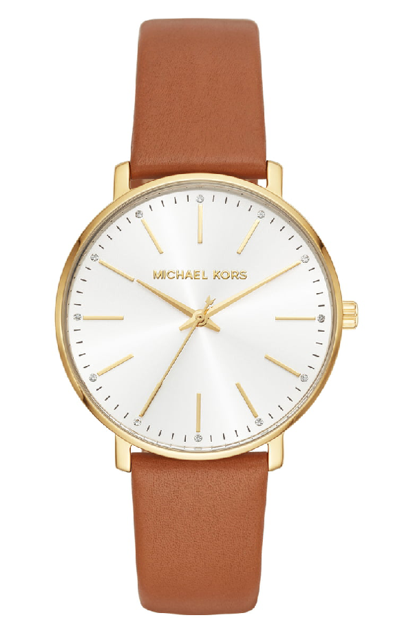 Michael Kors Pyper Leather Strap Watch, 38mm In Tan/ Gold