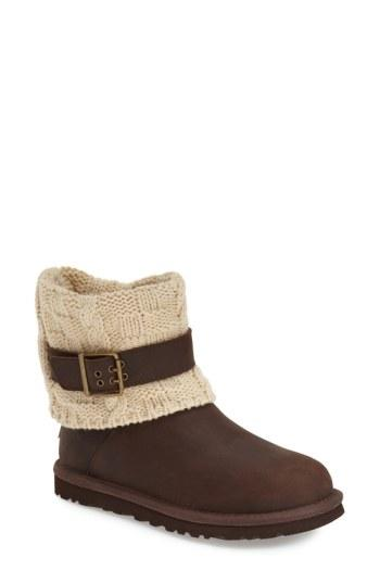 Ugg 'cassidee' Cable Knit Boot In Chestnut Knit Leather