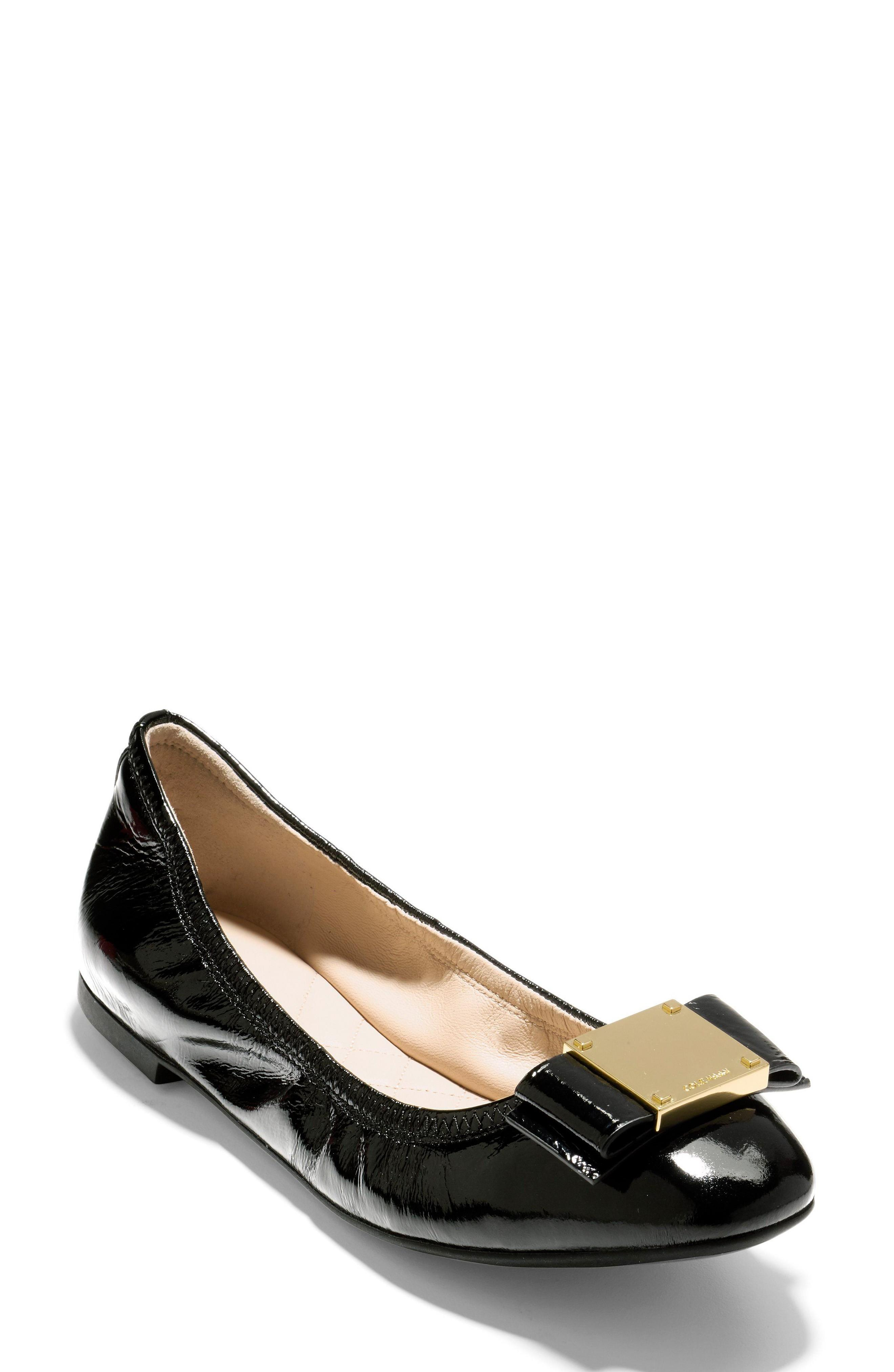 51f09e4d9a5 Cole Haan Tali Modern Bow Ballet Flat In Black. SIZE   FIT INFORMATION