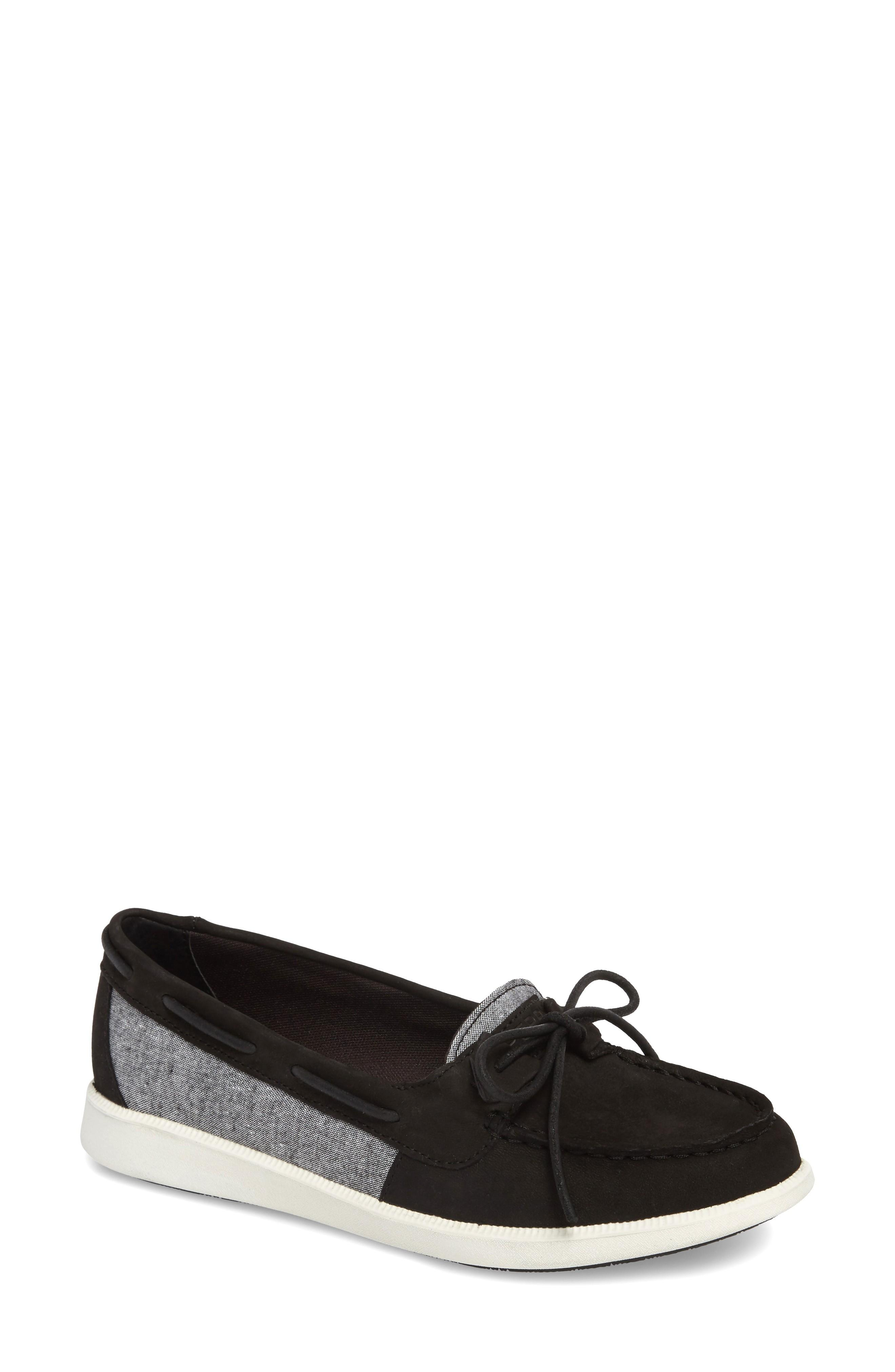 Sperry Oasis Boat Shoe In Black Chambray Canvas
