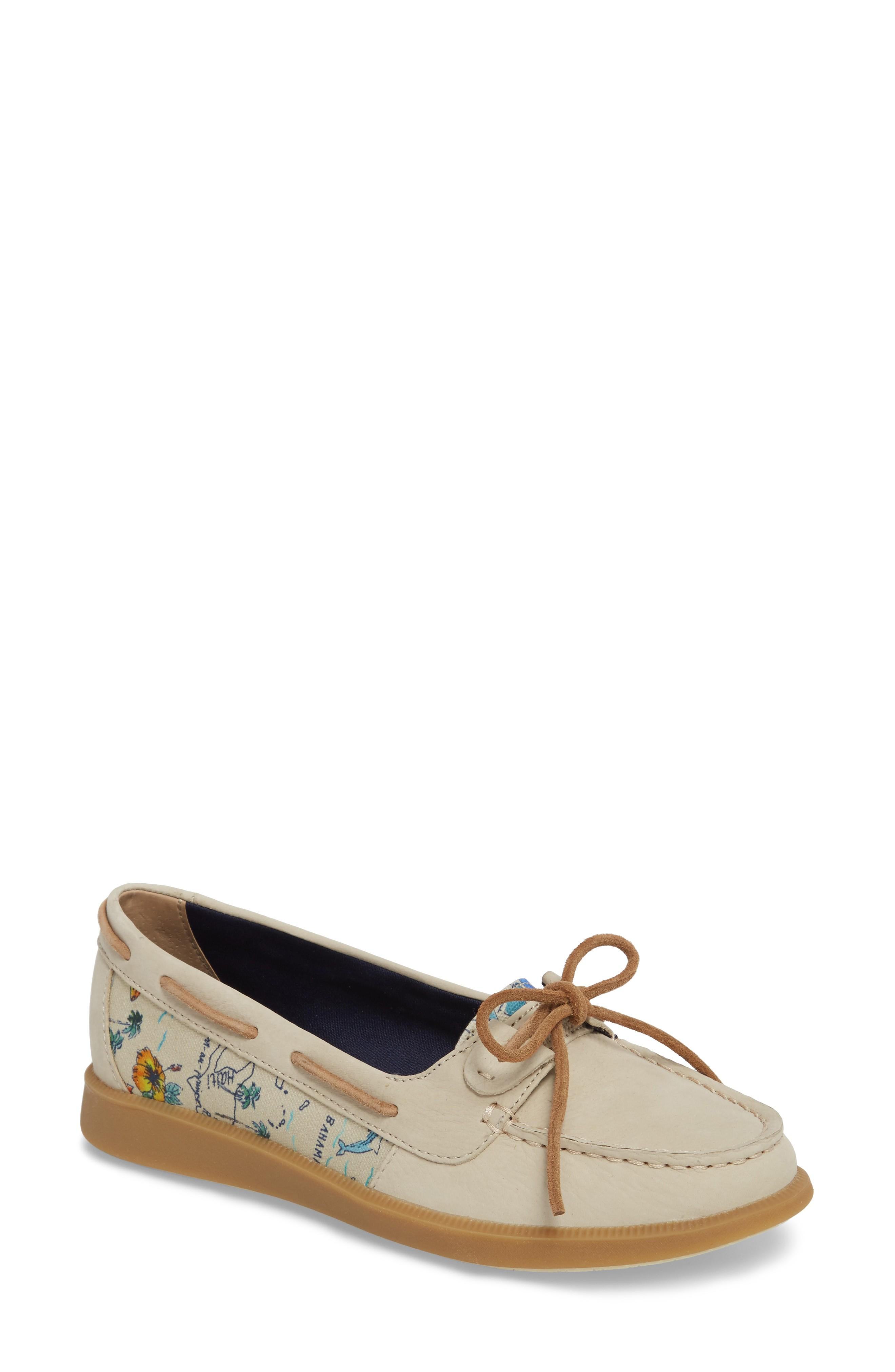 Sperry Oasis Boat Shoe In Linen Map Print Canvas