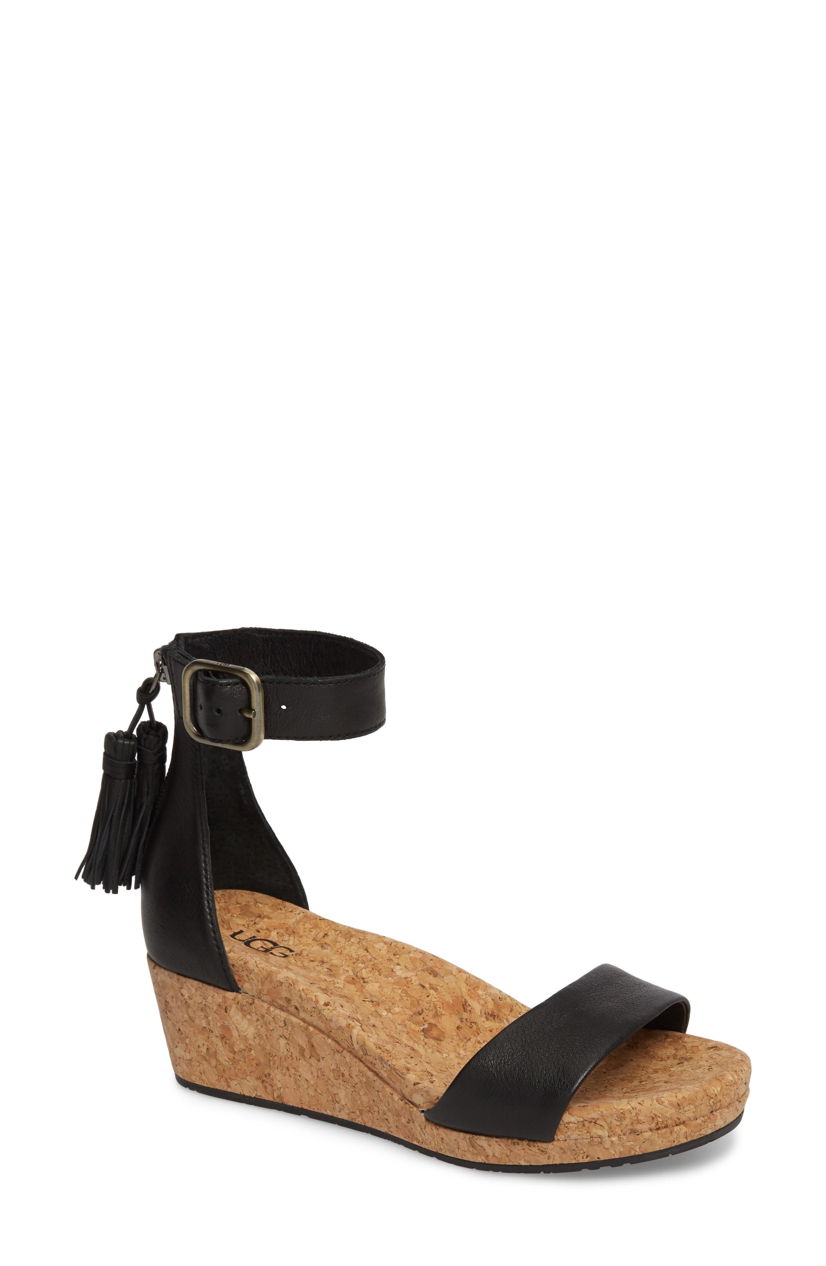 Ugg Zoe Wedge Sandal In Black Leather