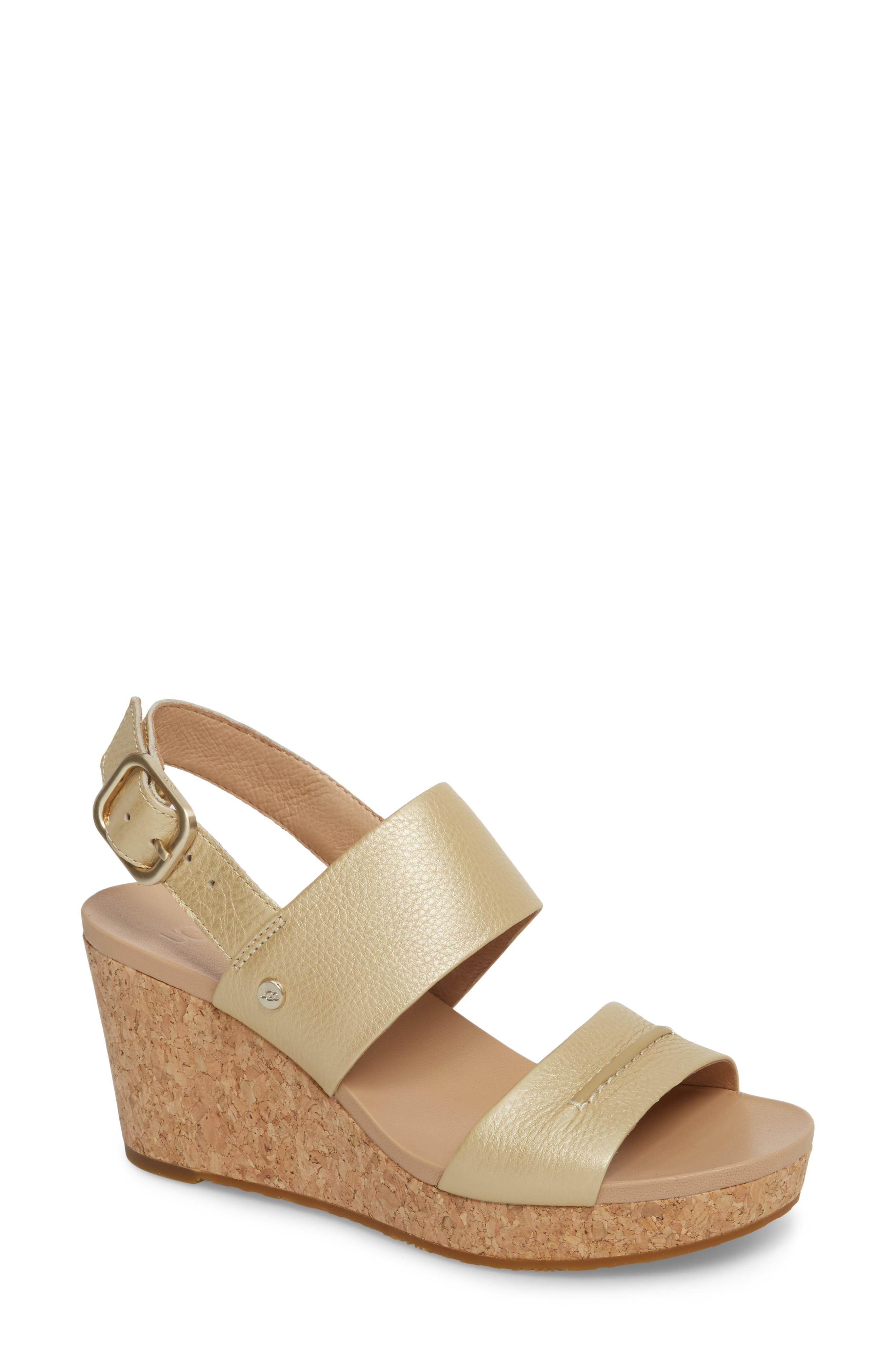 23e5e6cabc2 Ugg Elena Ii Metallic Platform Wedge Sandal in Soft Gold