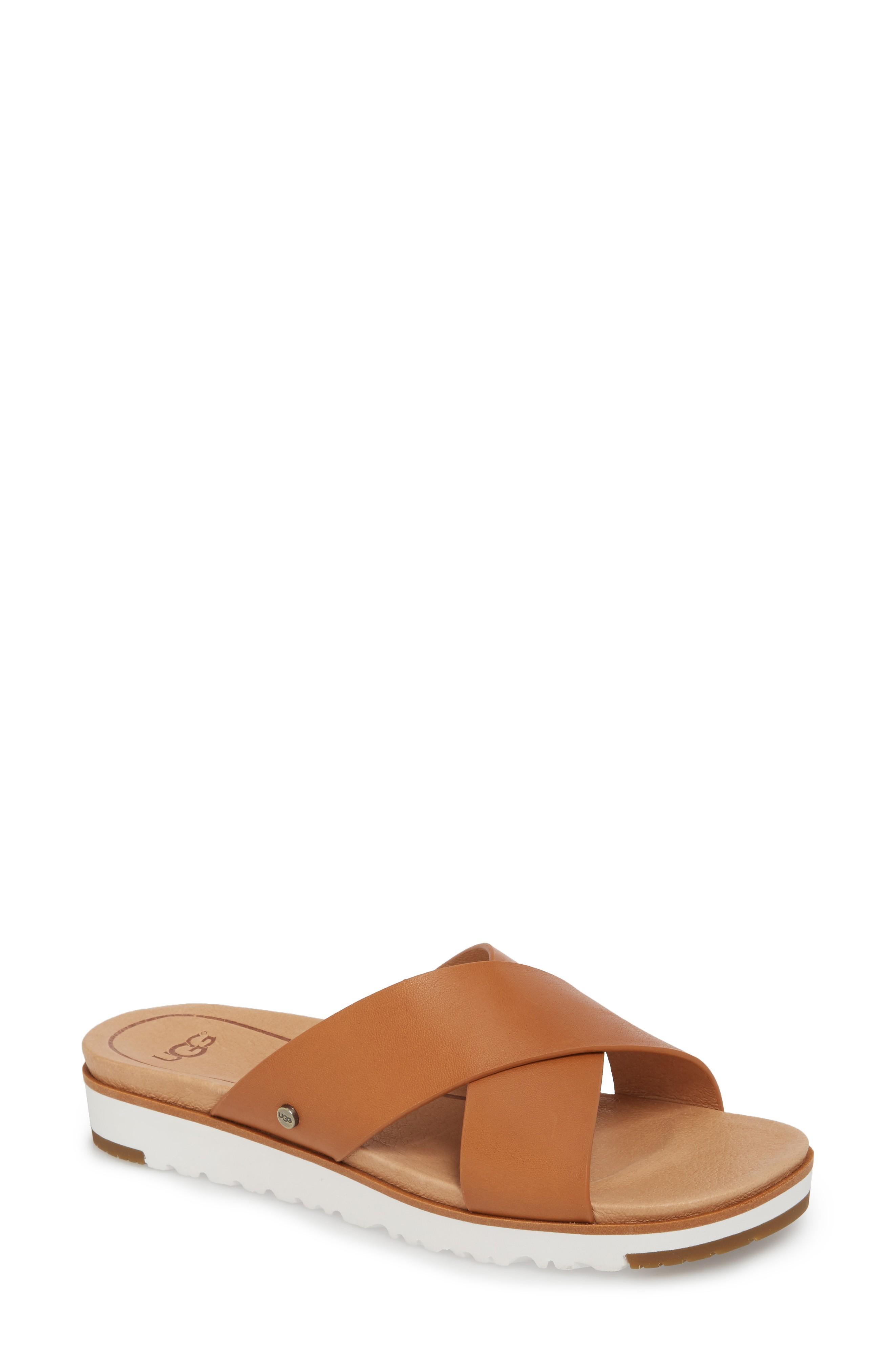 502b520c8e2 Women's Kari Leather Platform Slide Sandals in Natural