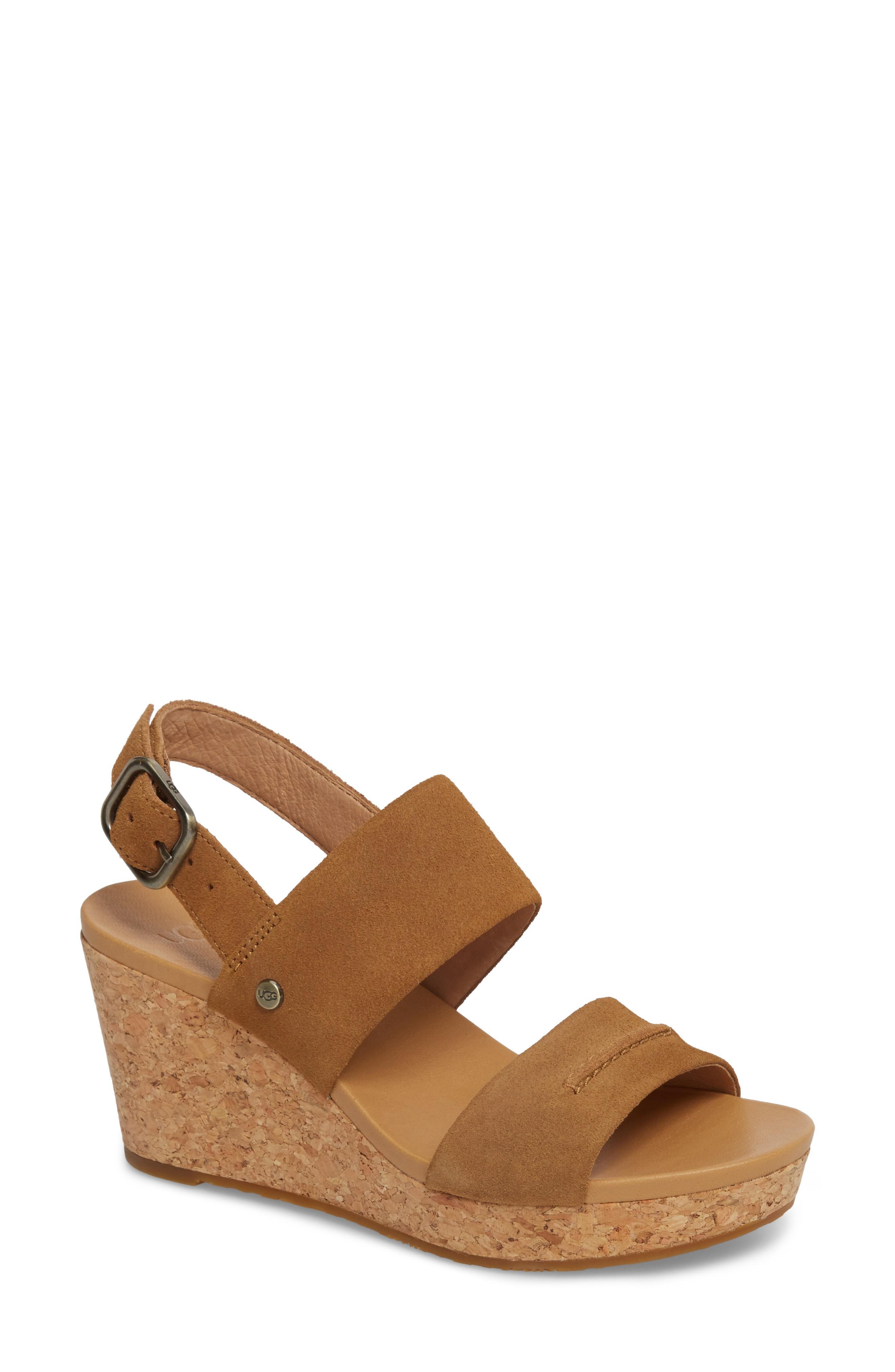 0b1414ad538 Ugg Elena Ii Platform Wedge Sandal in Chestnut Suede