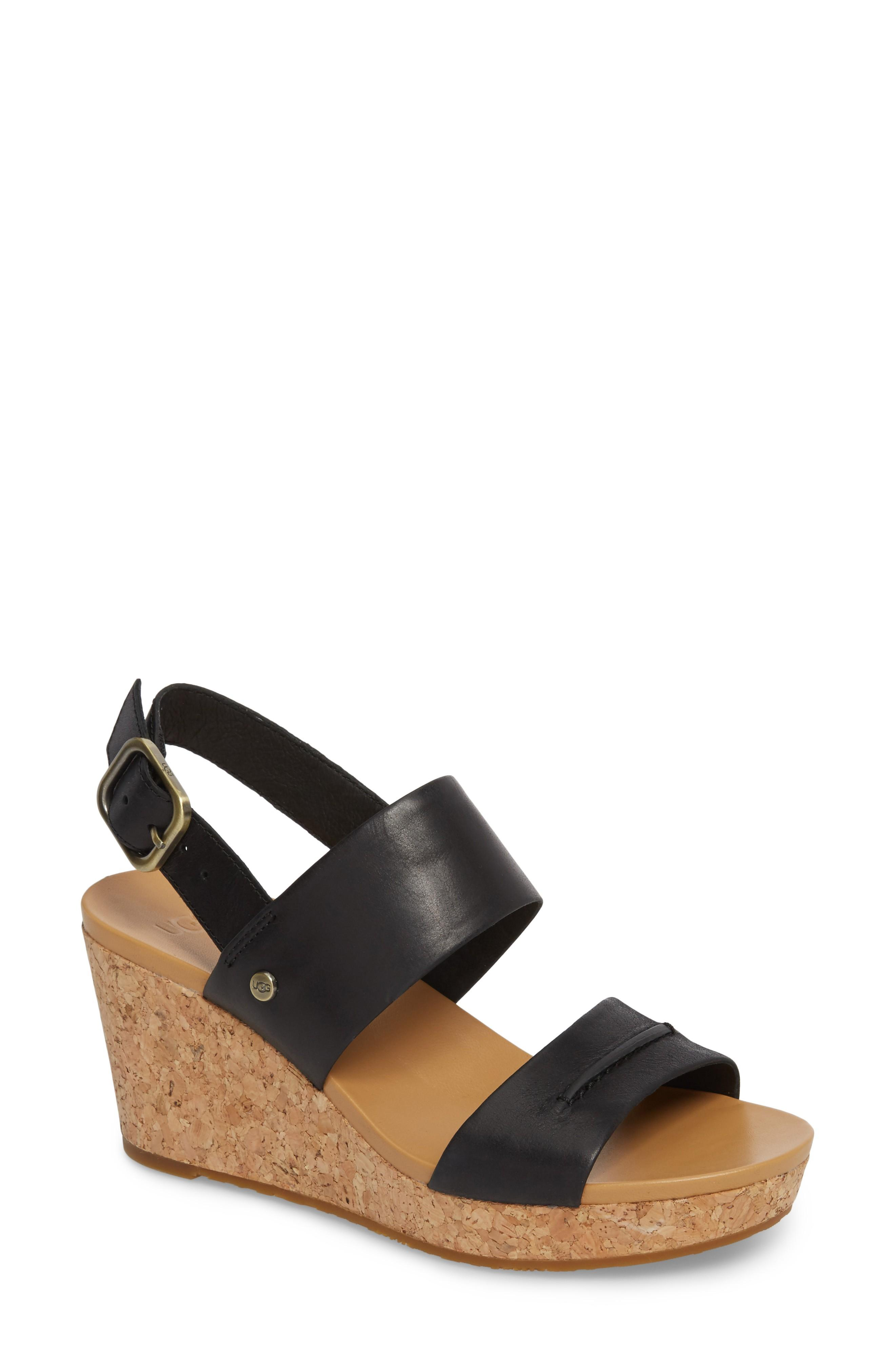 24e0b3e4cd84 A cork-covered platform wedge gives a summery lift to a casual sandal  fitted with a cushy footbed for all-day comfort. Style Name  Ugg Elena Ii  Platform ...