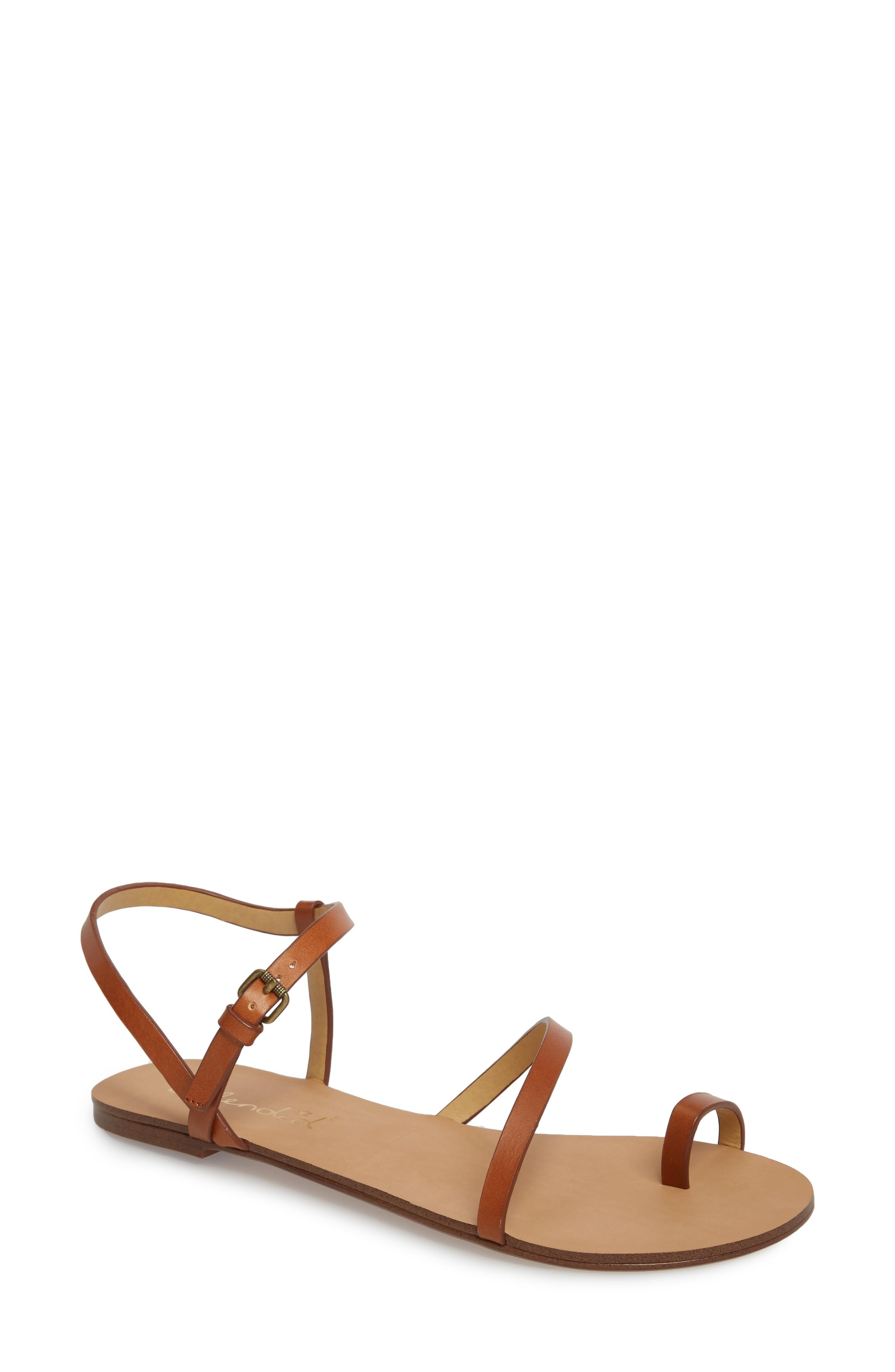 Splendid Flower Sandal In Cognac Leather