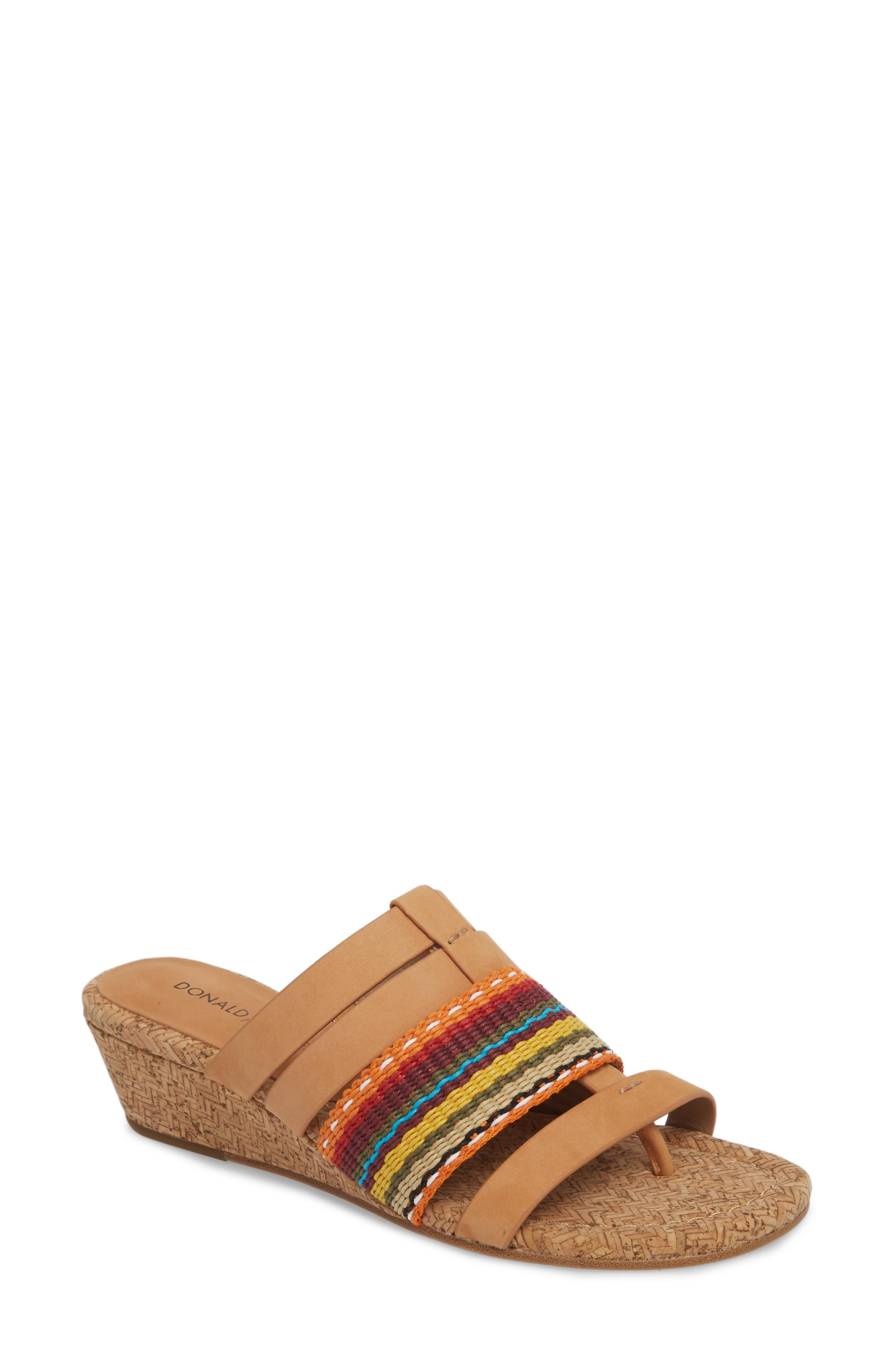 Donald Pliner Dara Wedge Sandal In Multi/ Fawn Leather