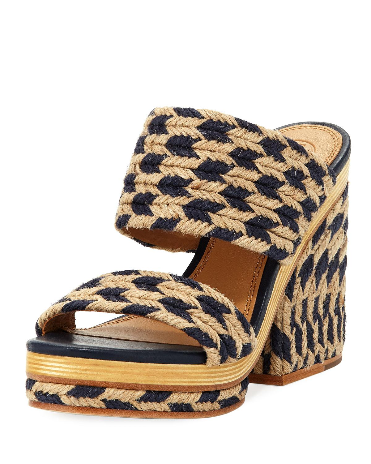d80839620e67 Tory Burch Women s Lola Woven Jute   Leather High-Heel Slide Sandals In  Perfect Navy