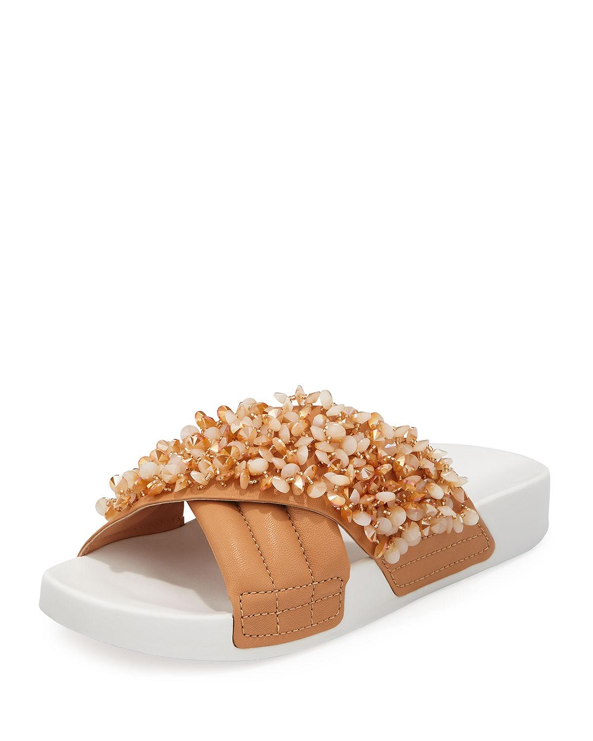 980080b4d67c Tory Burch Women s Logan Embellished   Quilted Leather Pool Slide Sandals  In Natural Vachetta  Cassia