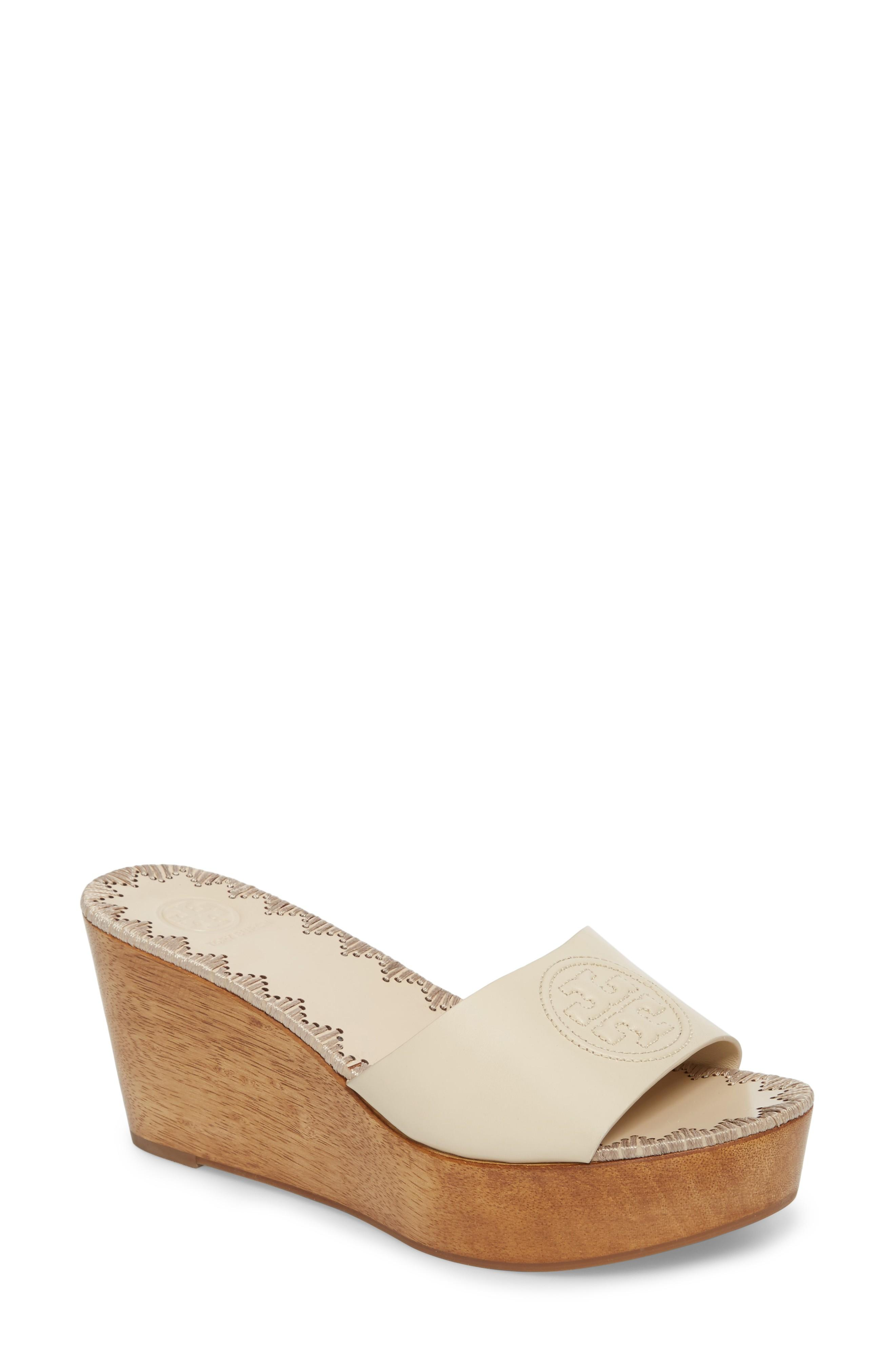 cedbac759956 TORY BURCH. Women s Patty Leather Platform Wedge Slide Sandals in Perfect  Cuoio