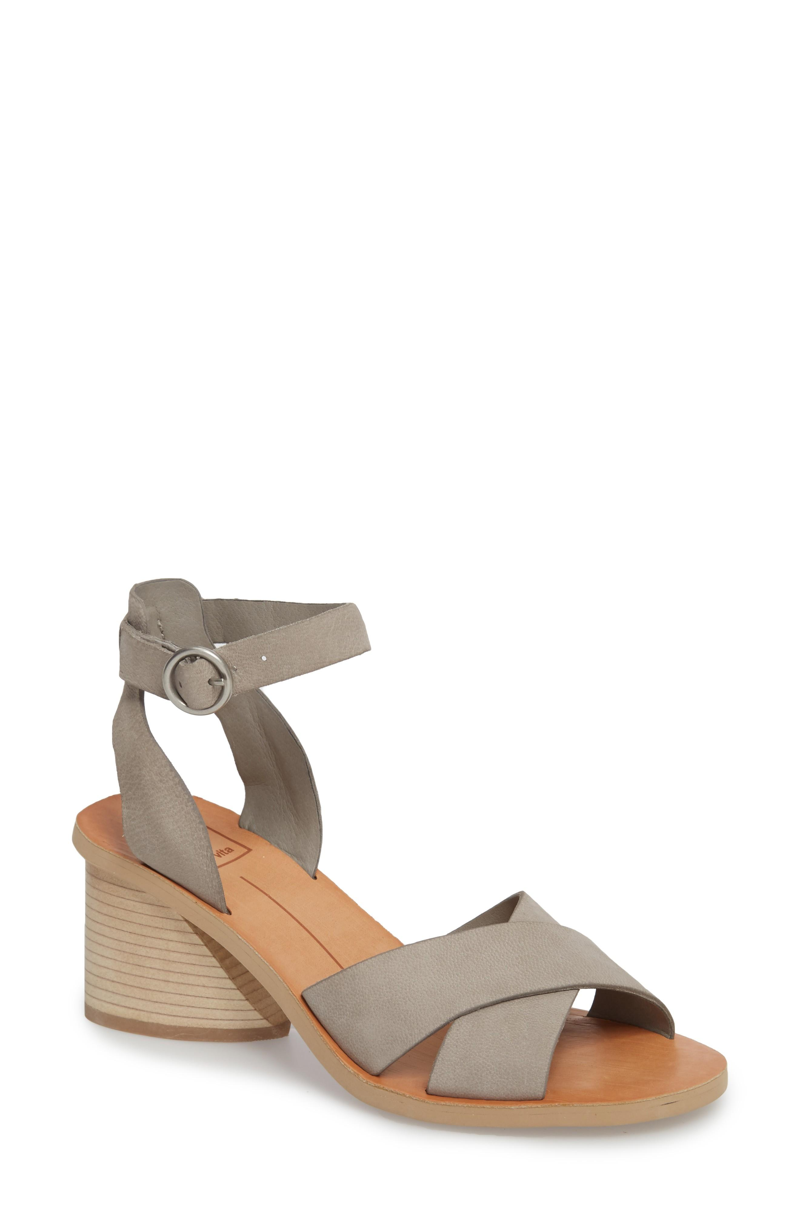Dolce Vita Women's Roman Nubuck Leather Mid-heel Sandals In Grey Nubuck