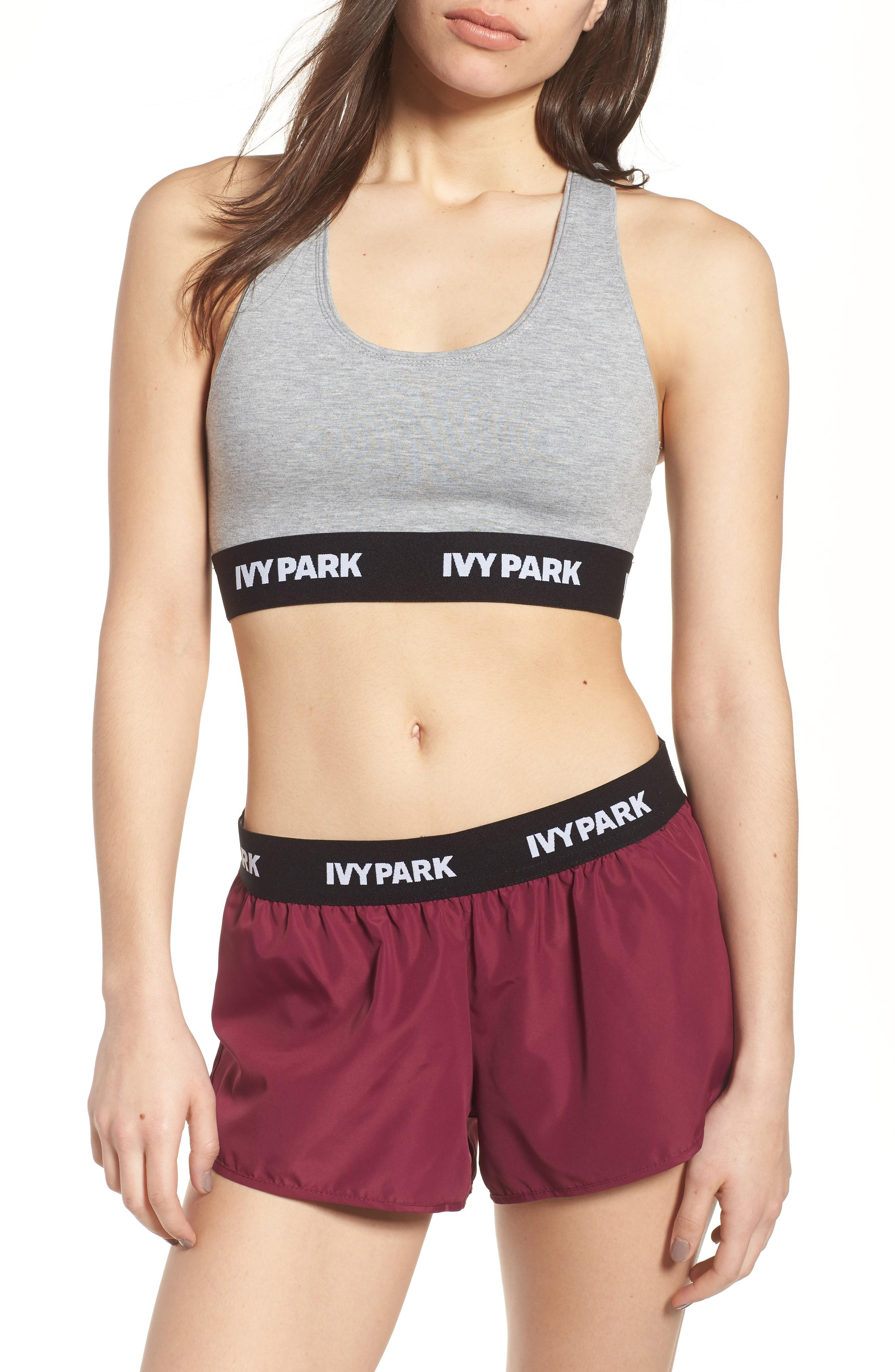 Ivy Park Logo Soft Touch Sports Bra In Grey Marl