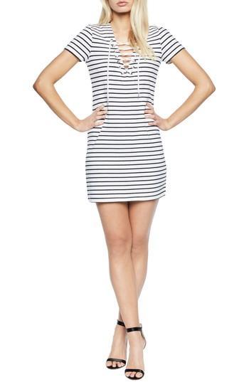 Bardot Stripe Shift Dress In Blue/ White Stripe