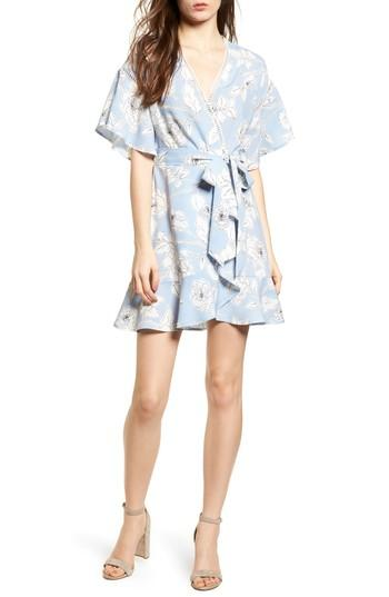 Moon River Floral Print Wrap Dress In Sky Blue Floral