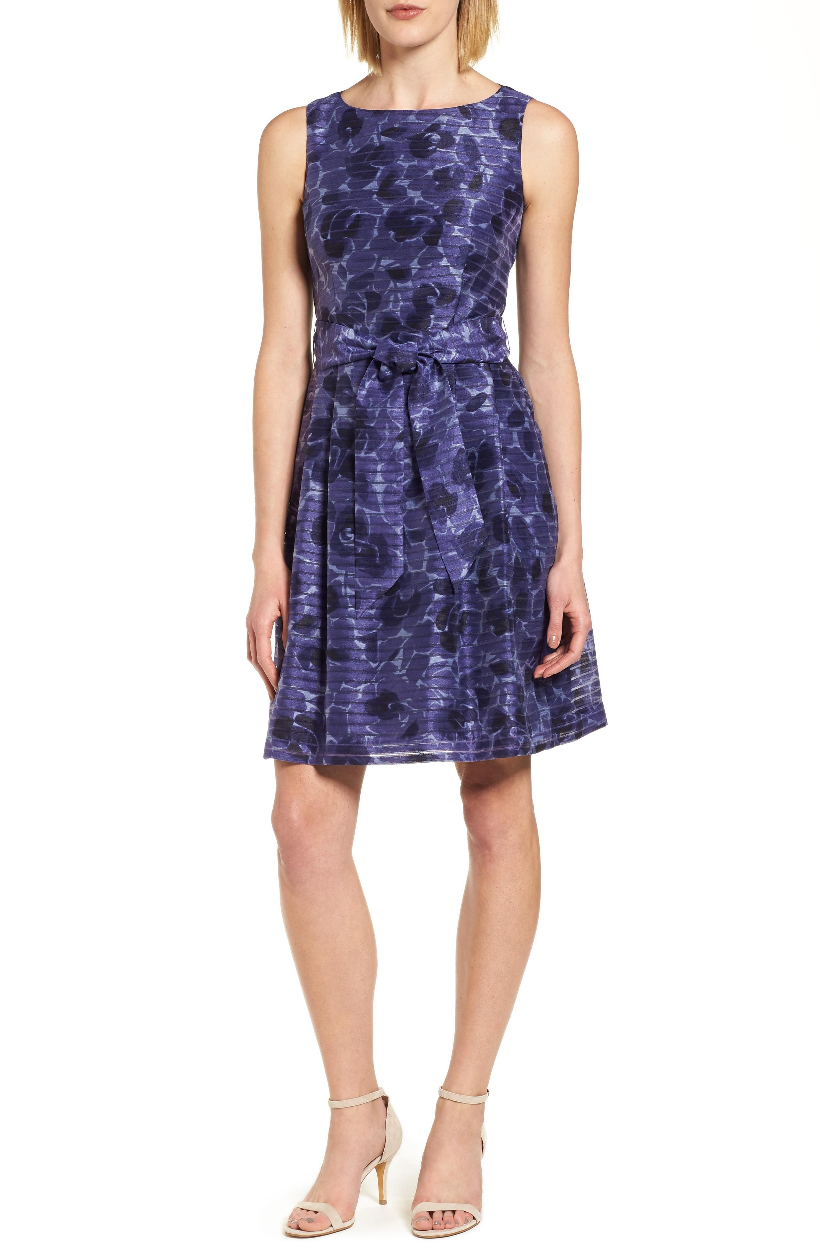 Anne Klein New York Rosewater Shadow Fit & Flare Dress In Monaco Combo