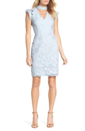 Adelyn Rae Delilah Lace Sheath Dress In Light Blue
