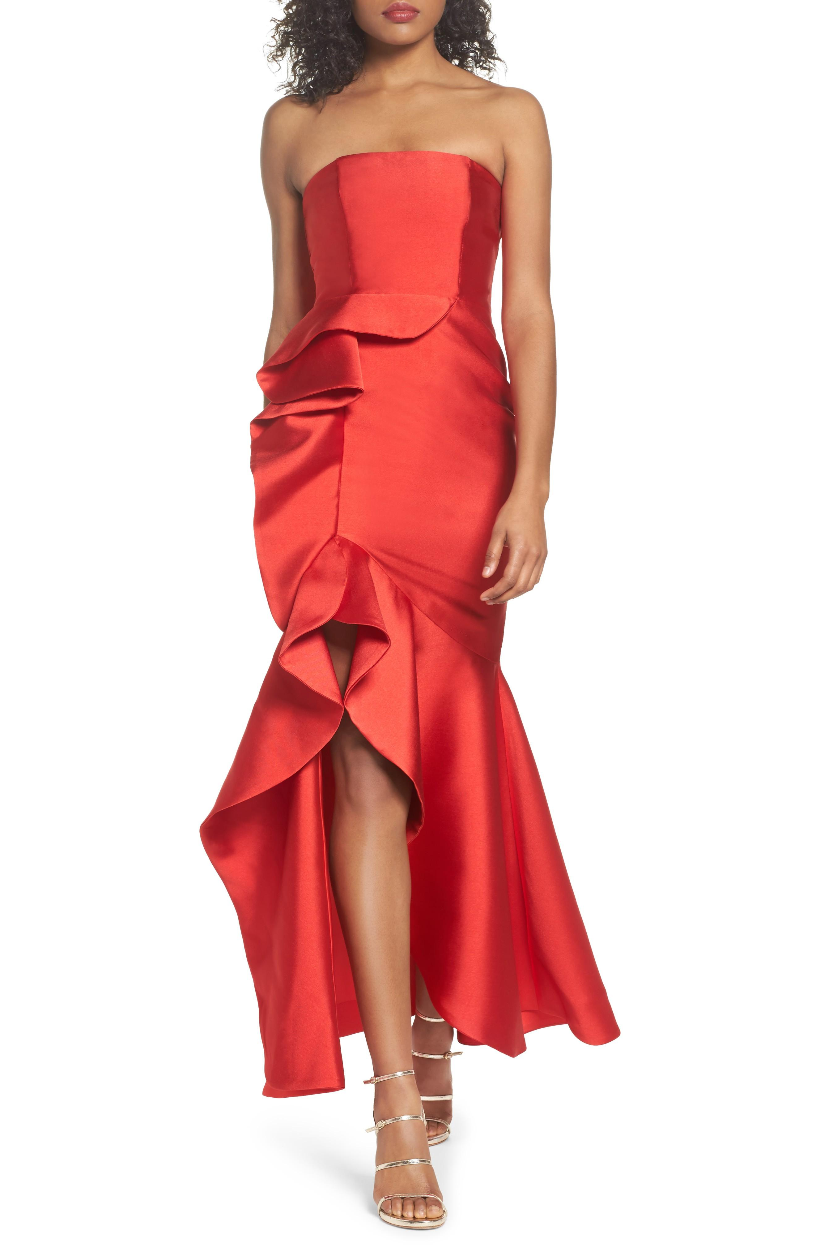 6090eb6d84cd Fame And Partners The Seller Twill Strapless Bustier Gown W/ Side Ruffle In  Red