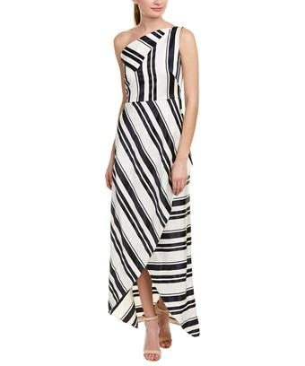 Kay Unger One-shoulder Cross Front Maxi Dress In Navy/ White