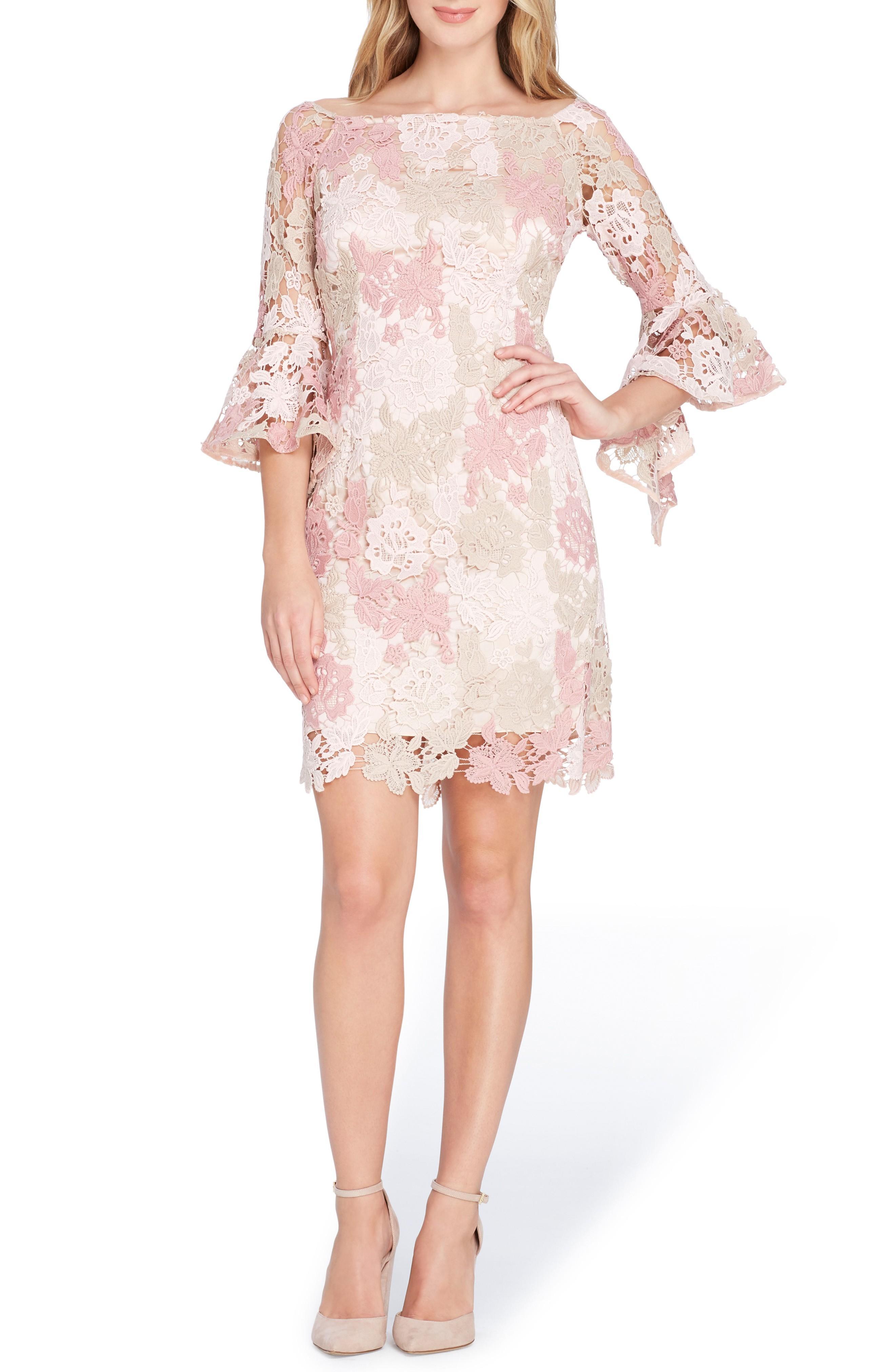 Tahari Lace Bell Sleeve Sheath Dress In Blush/ Rose/ Taupe