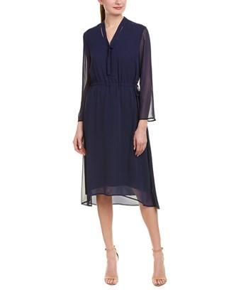 Anne Klein Sheer Overlay Tie Dress In Breton Blue