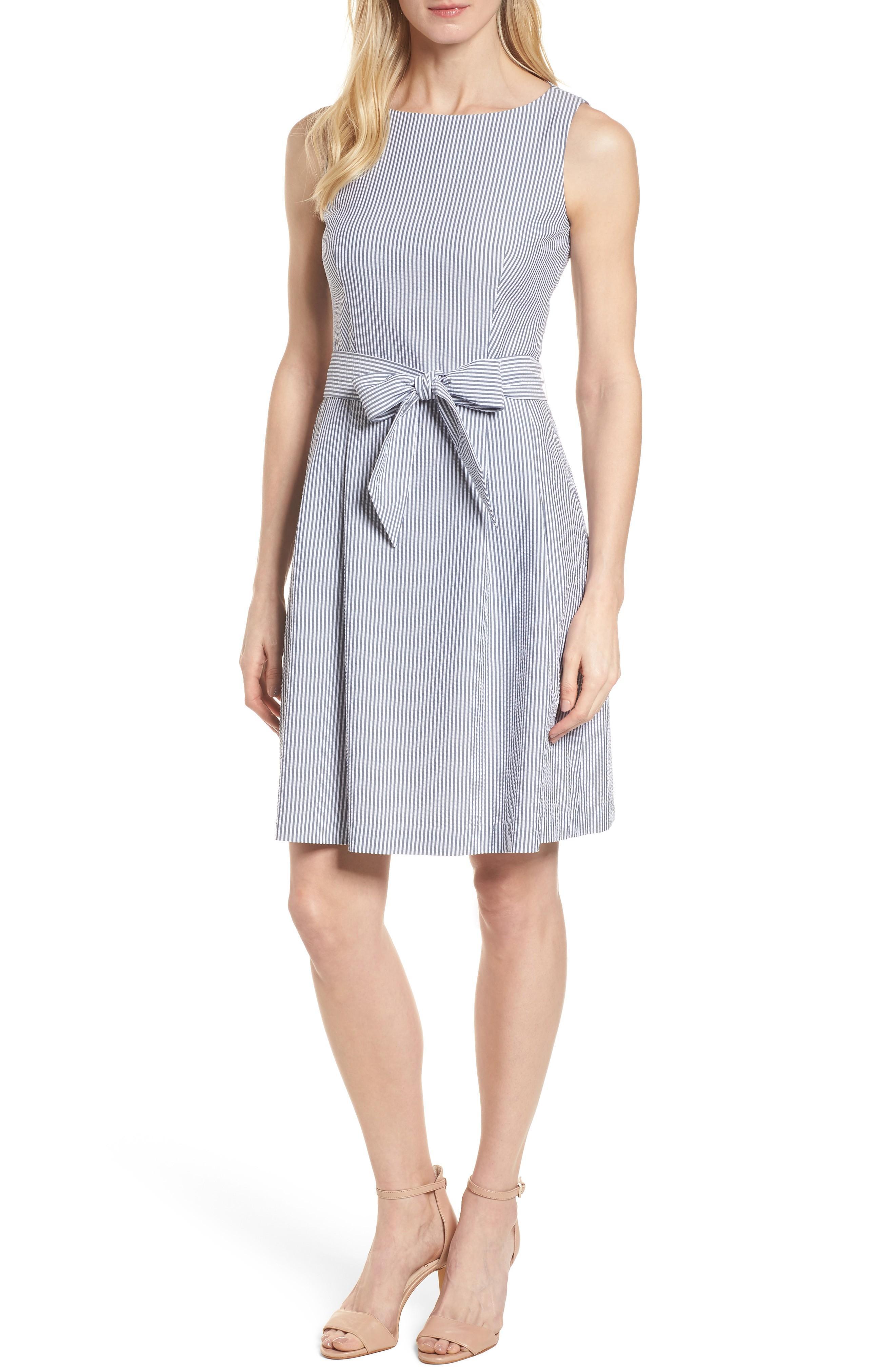 Anne Klein Seersucker Fit & Flare Dress In Optic White/ Breton Blue