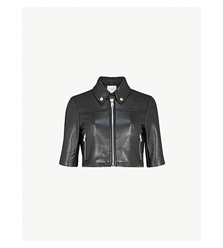 Maje Brittany Cropped Leather Shirt Jacket In Black