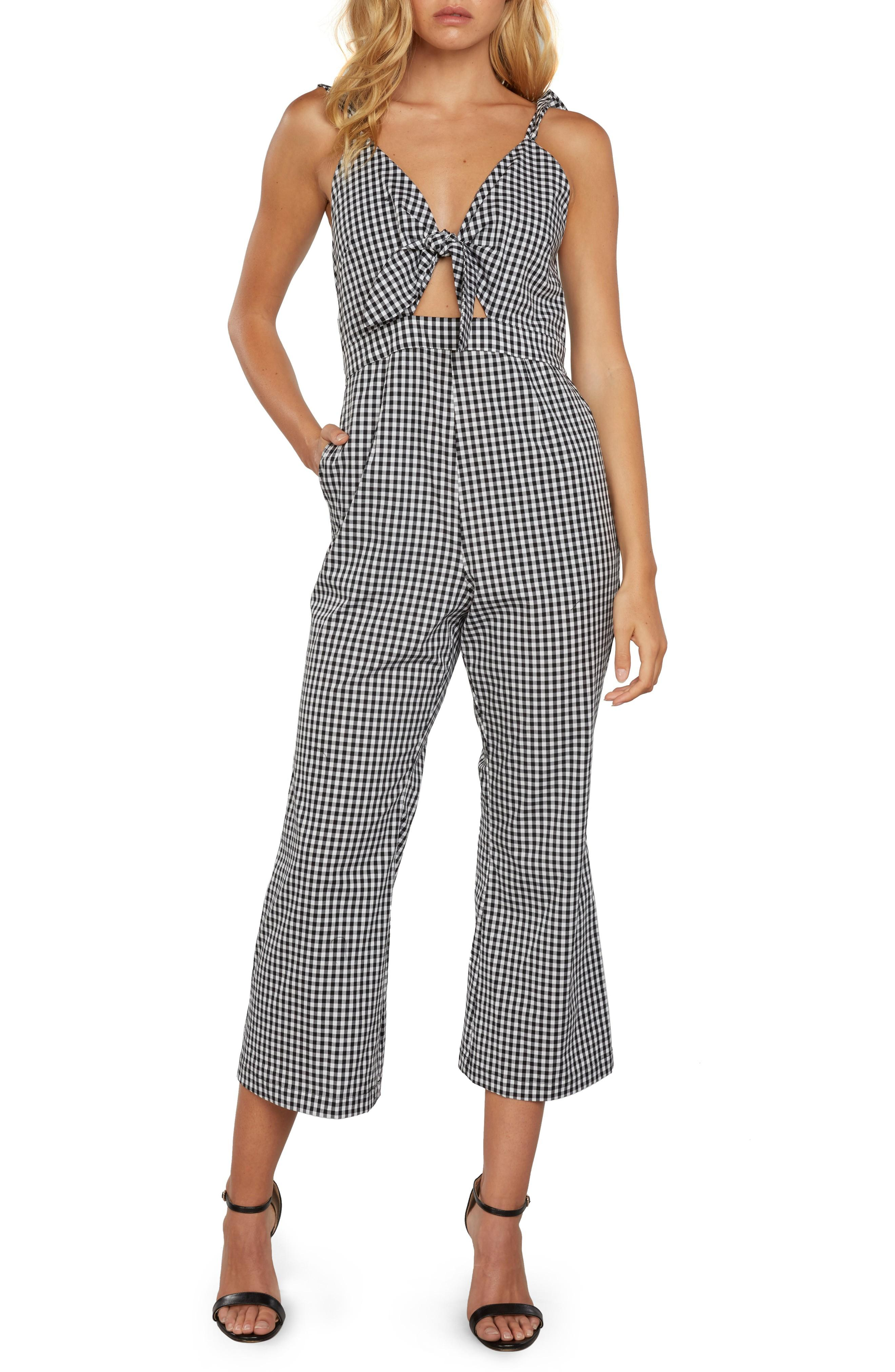 Willow & Clay Gingham Culotte Jumpsuit In Black