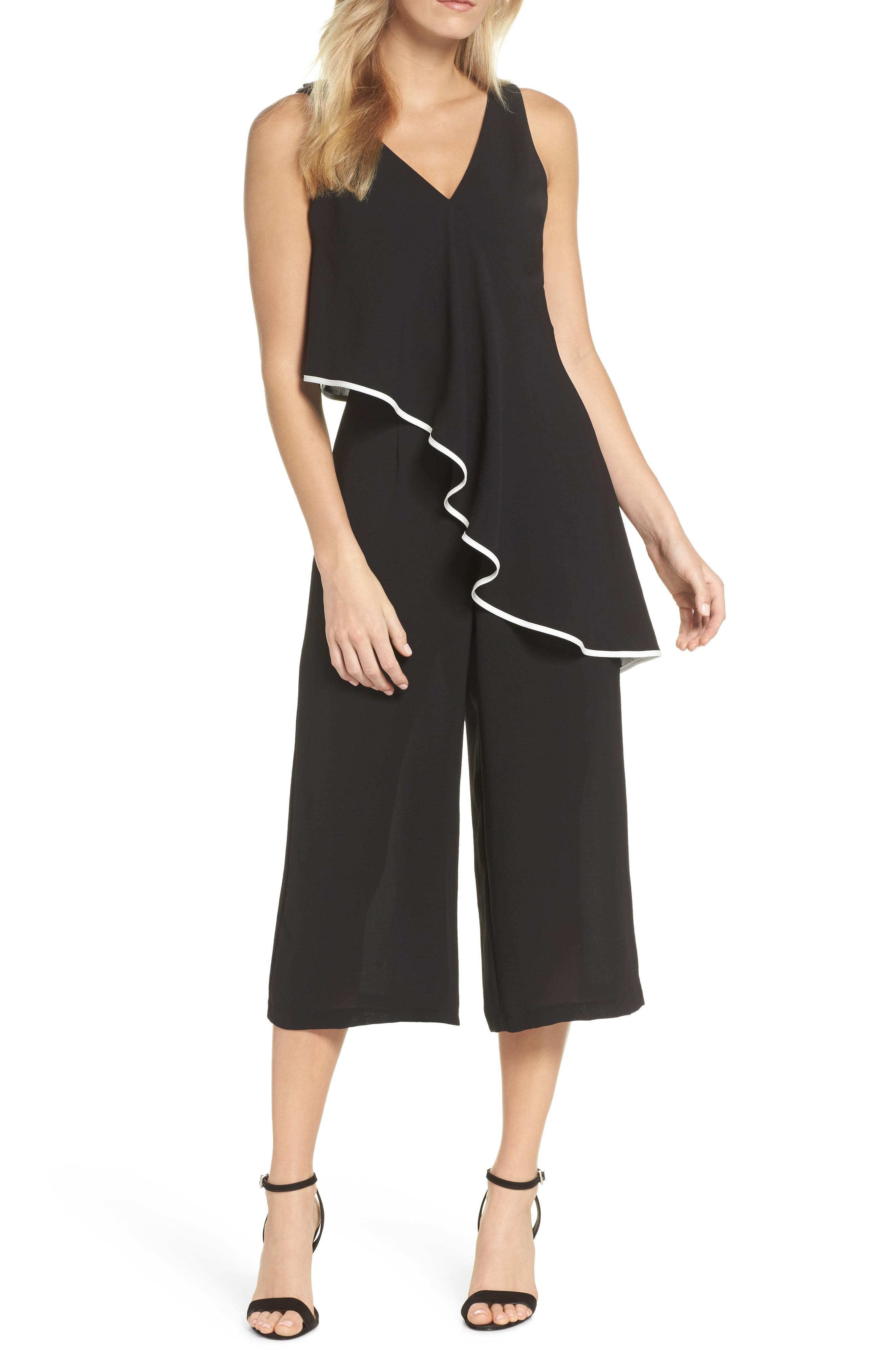 Adrianna Papell Contrast Trim Crop Jumpsuit In Black/ Ivory