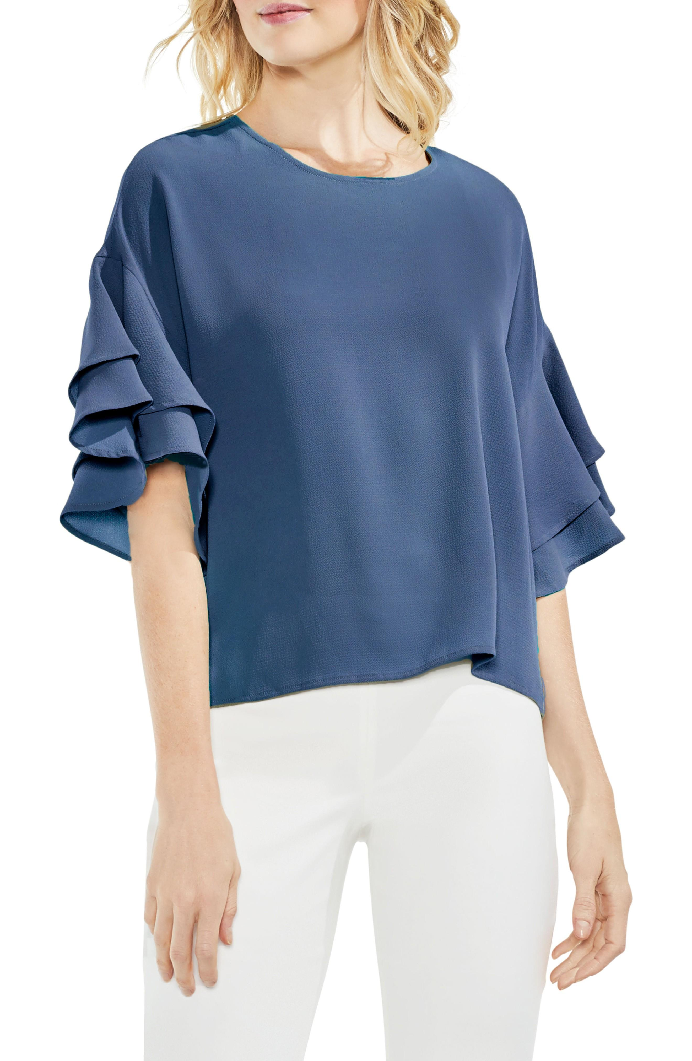 Vince Camuto Drop Shoulder Ruffle Sleeve Blouse In China Blue