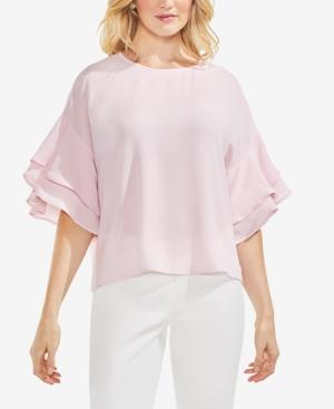 Vince Camuto Drop Shoulder Ruffle Sleeve Blouse In Pink Bliss