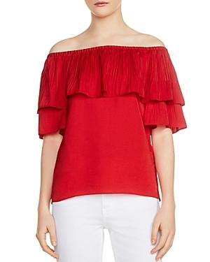 Maje Locao Off The Shoulder Top In Red