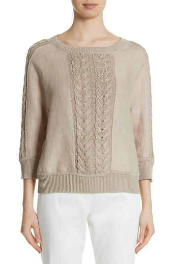 Max Mara Albero Linen Sweater In Sand