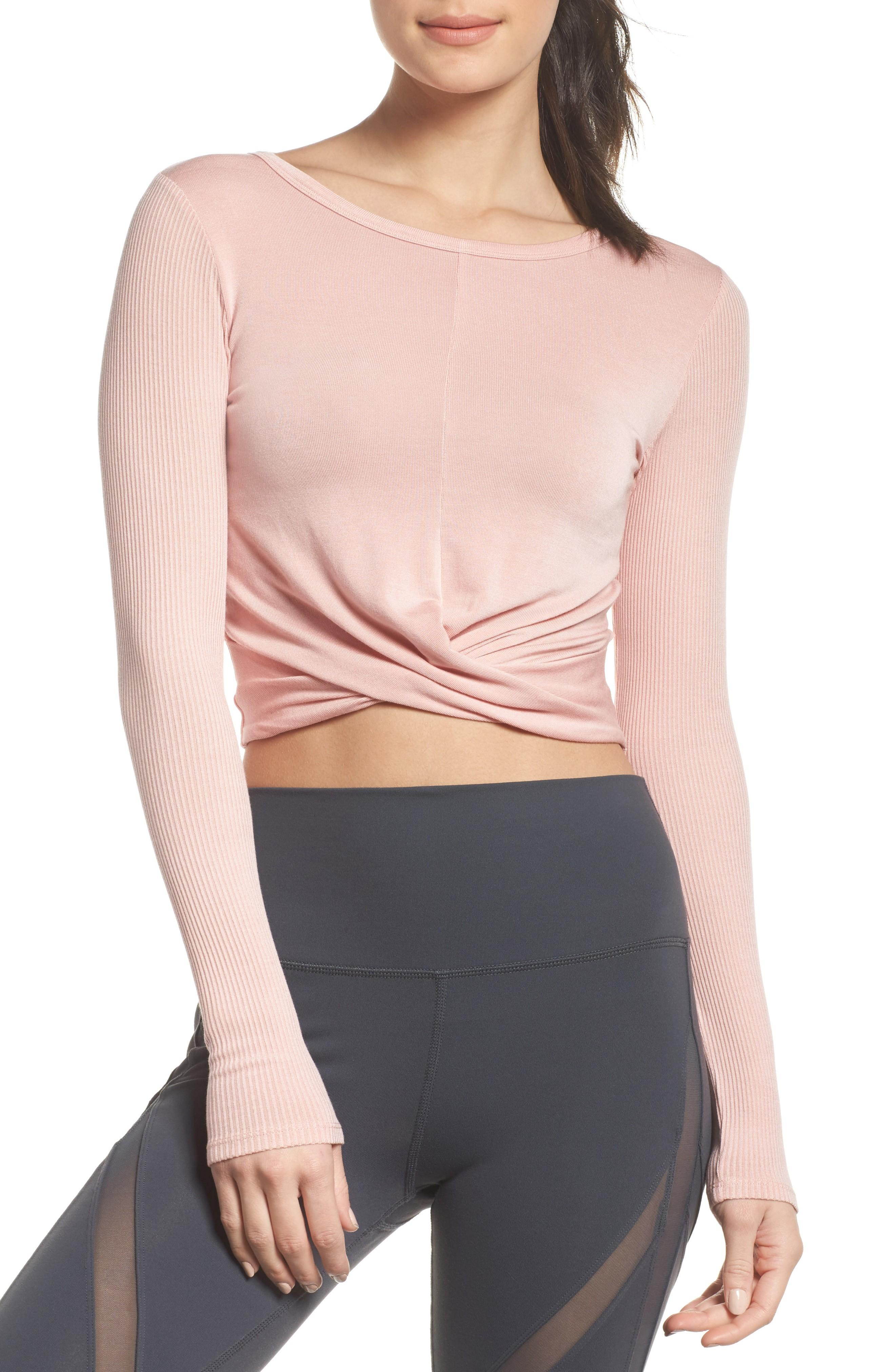 Alo Yoga Cover Wrapped Tee In Powder Pink