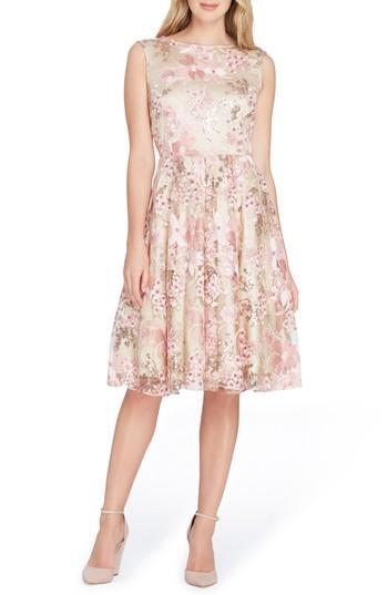 Tahari Sleeveless Embroidery Fit & Flare Dress In Nude/ Tea Rose/ Blush
