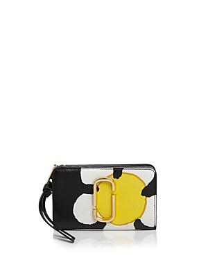 Marc Jacobs The Grind Compact Leather Wallet In Yellow Multi/gold
