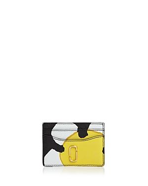 Marc Jacobs Leather Card Case In Yellow Multi/gold