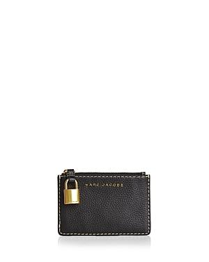 Marc Jacobs The Grind Top Zip Multi Wallet In Black/gold