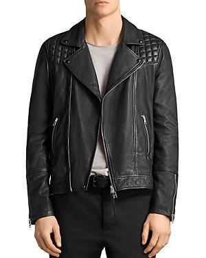 Allsaints Taro Leather Biker Jacket In Black