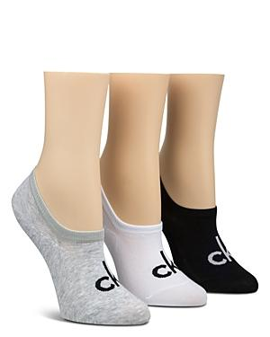Calvin Klein Sporty Logo Ankle Socks, Set Of 3 In Black/white/gray