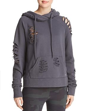 Alo Yoga Distressed Hooded Sweatshirt In Anthracite Destroyed Gray