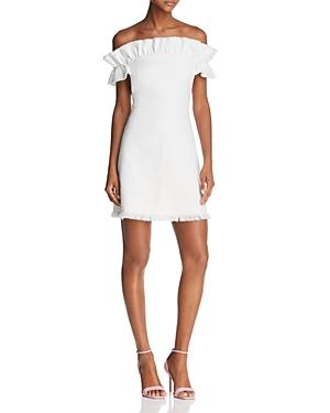 Rebecca Taylor Off Shoulder Slub Dress In Snow