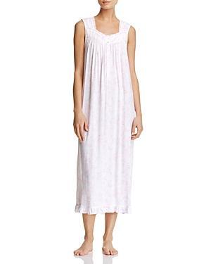 Eileen West Sleeveless Ballet Nightgown In White/pink