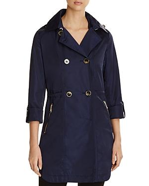T Tahari Mason Double-breasted Trench Coat In Deep Navy