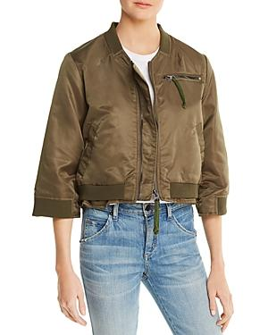 Doma Layered-look Bomber Jacket In Army Green