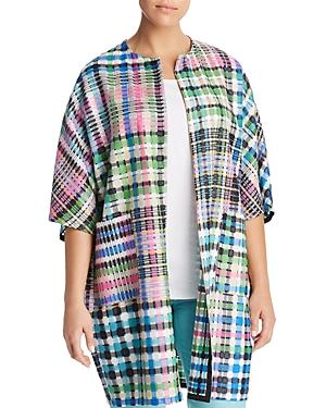 Marina Rinaldi Fase Open-front Check-print Jacket In Fuchsia