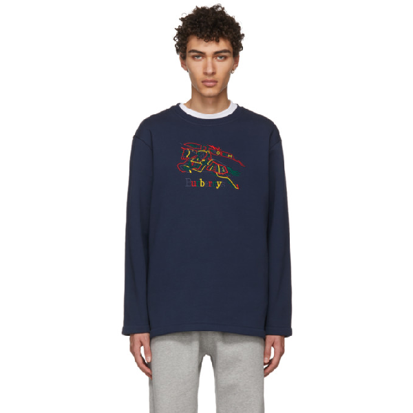 Burberry Navy Rainbow Check Knight Crest Sweatshirt In Blue