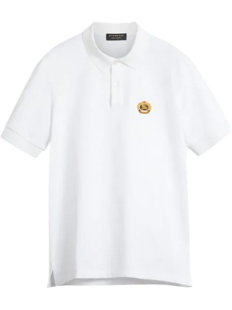 Burberry Embroidered Cotton-PiquÉ Polo Shirt - White